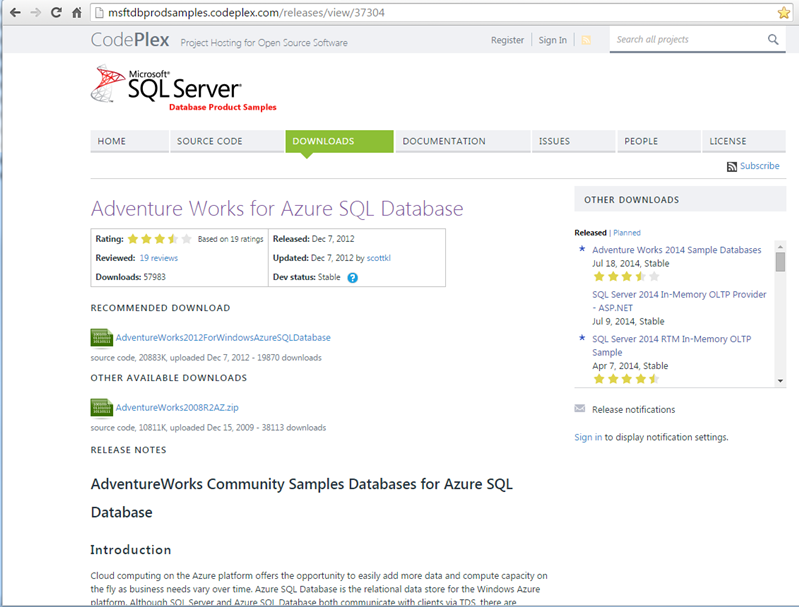 SQL Azure Adventure Works