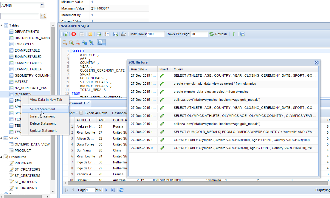 Netezza SQL Editor & History Viewer