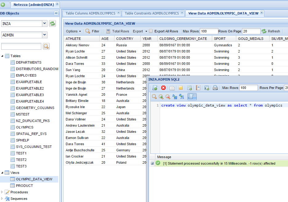 Netezza Online View Manager