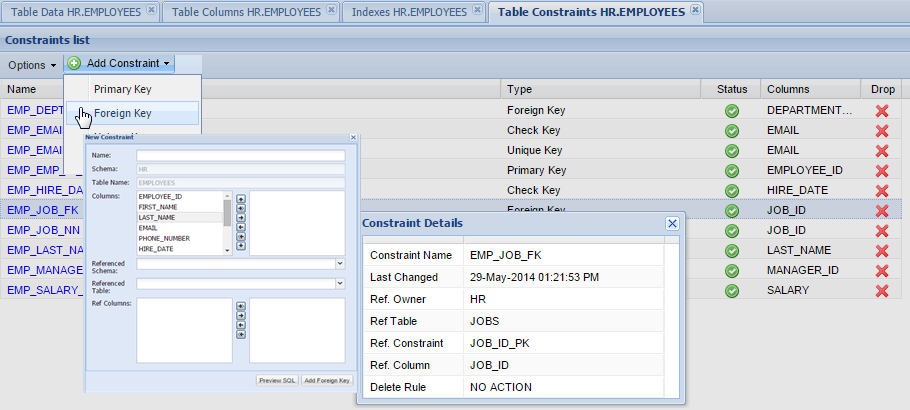 Web-Based Oracle Constraints Manager