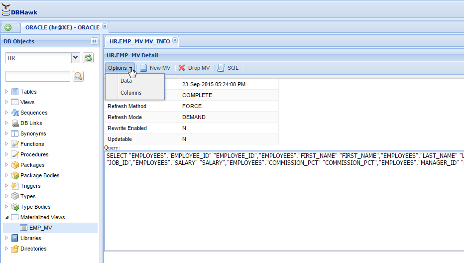 Oracle Materialized View Manager