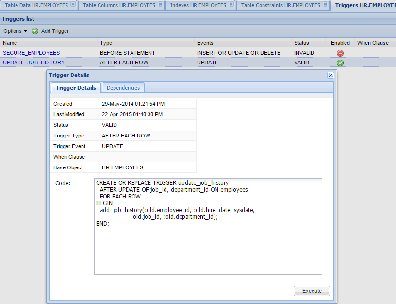 Oracle Database Trigger Manager
