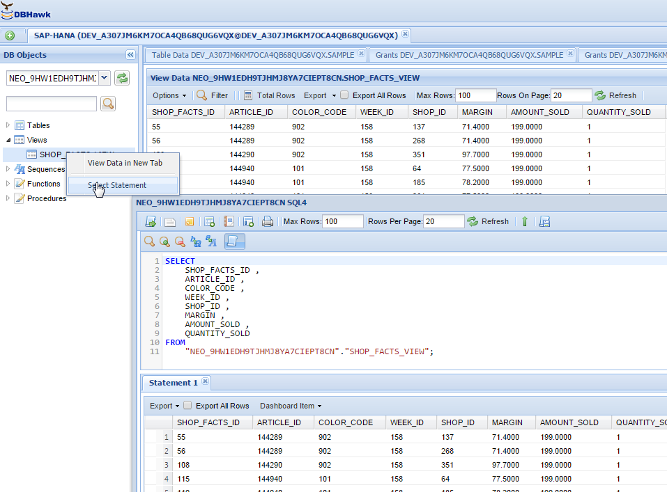 SAP HANA Online View Manager