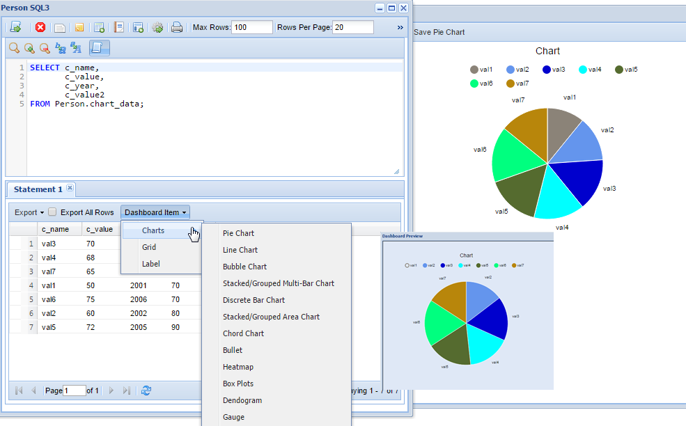 MSSQL Client Tools - Charts and Dashboards