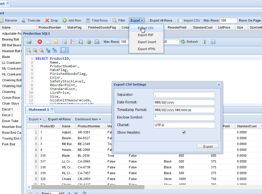 MSSQL Export Data Online