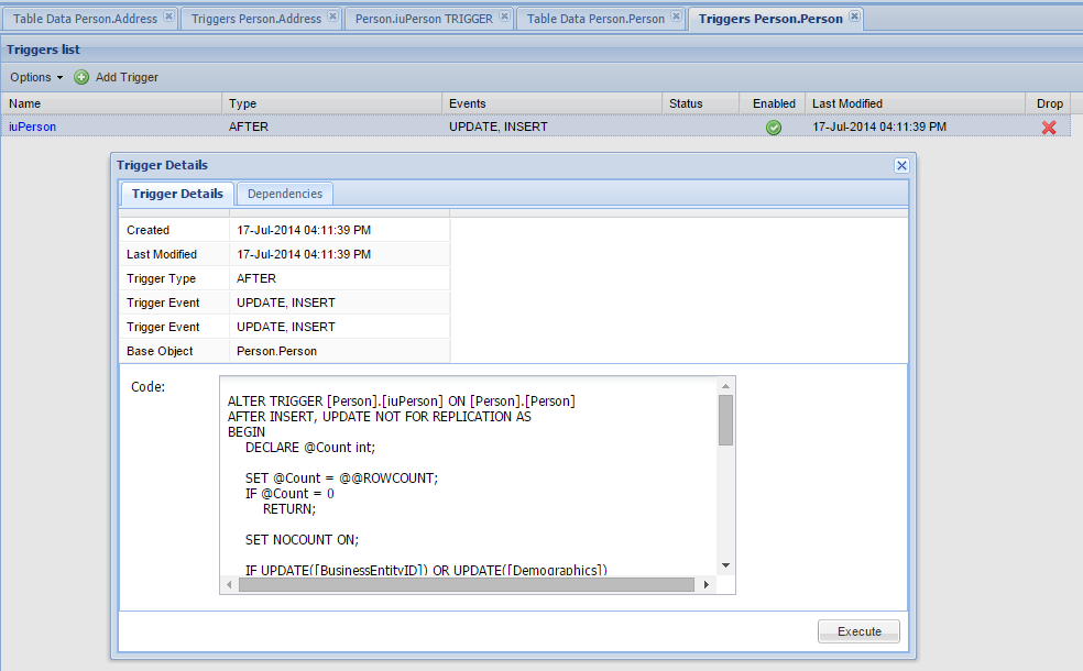 MSSQL Database Trigger Manager