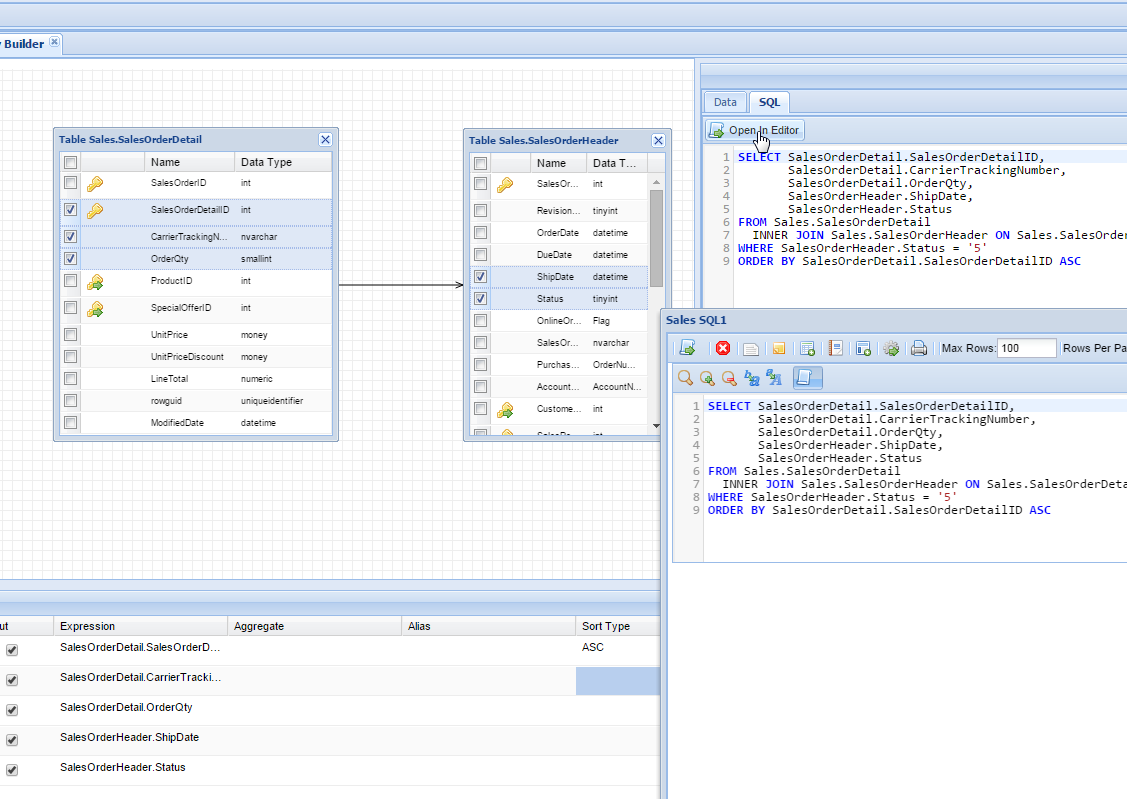 Database Query Builder - SQL Preview
